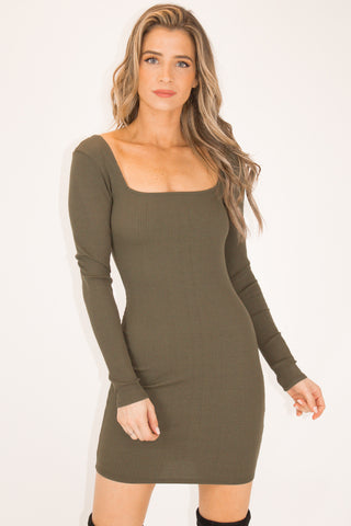 MOCHA CROSS BACK MINI DRESS