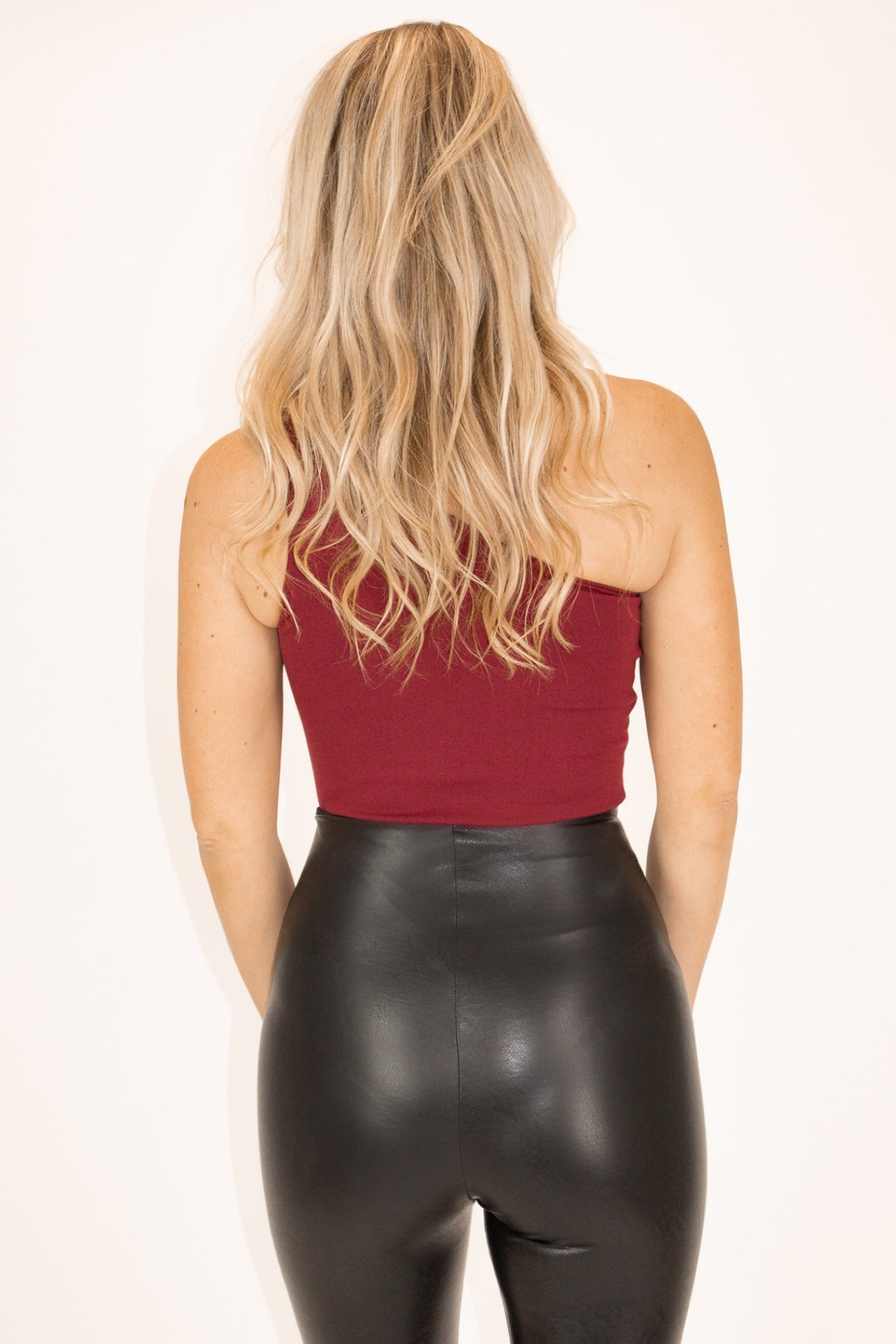 One Shoulder High-Quality Bodysuit in Wine