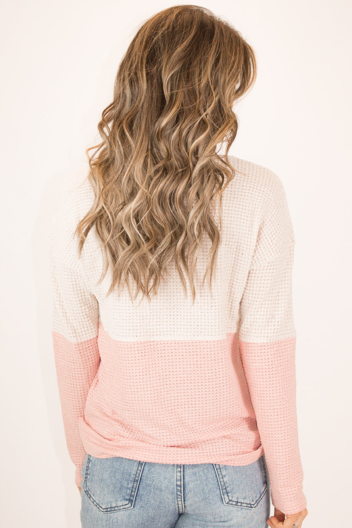 BEIGE + PINK COLOR BLOCK KNIT