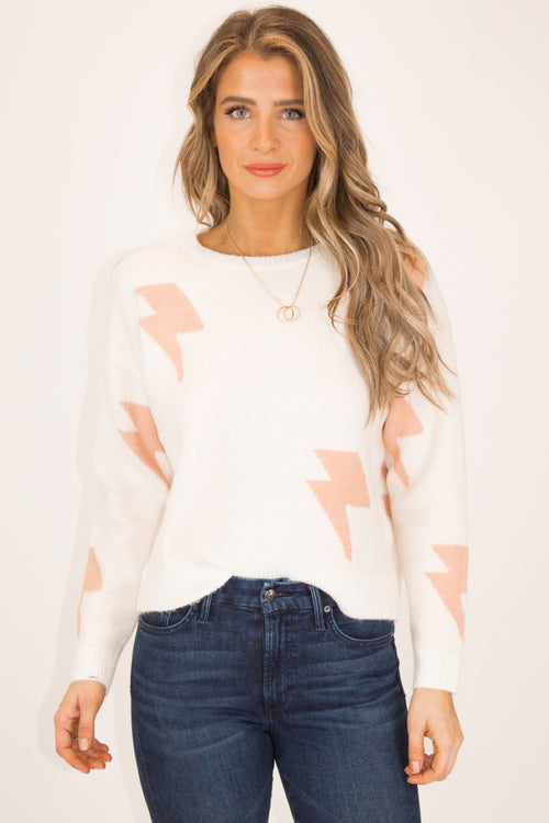 BABY PINK LIGHTNING BOLT SWEATER