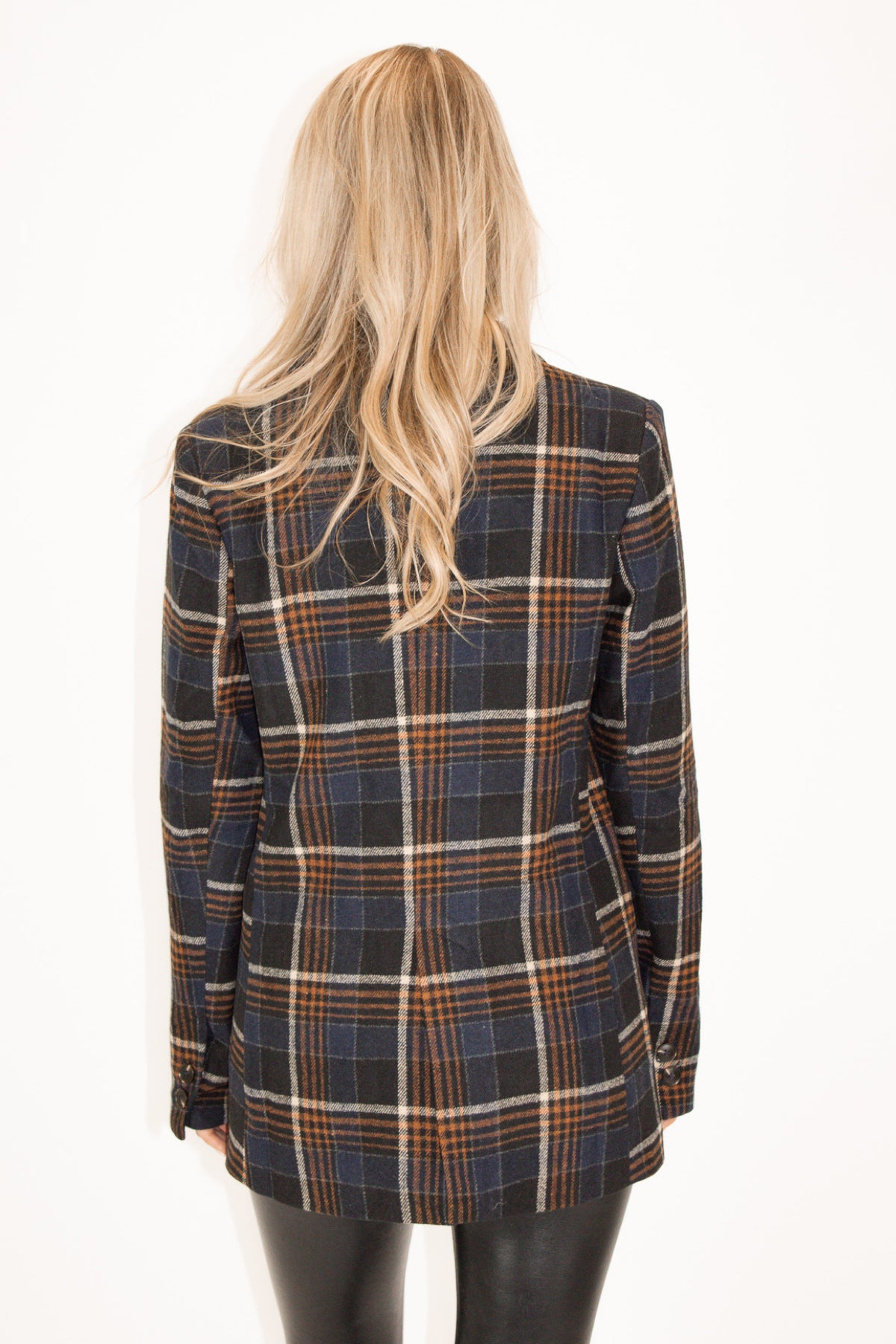 Navy Plaid Button Jacket