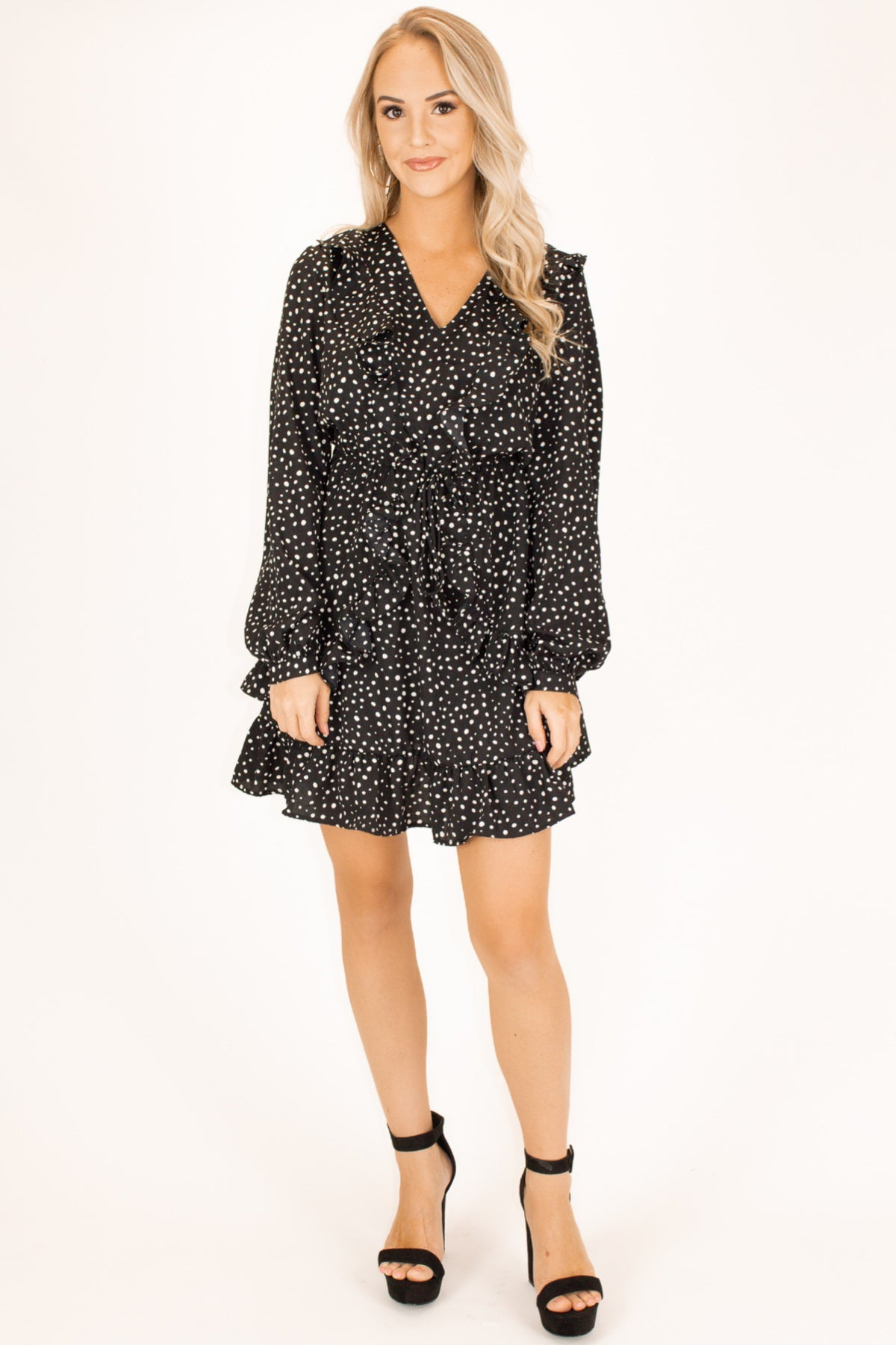 DOTTED RUFFLE MINI DRESS