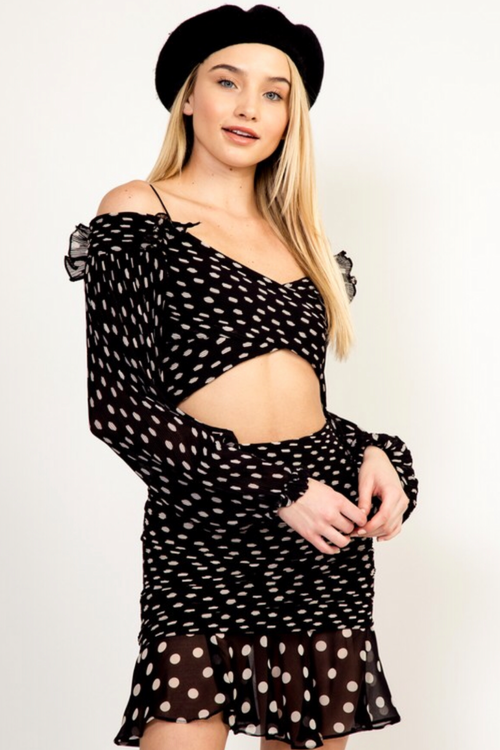 POLKA DOT OFF SHOULDER CROP