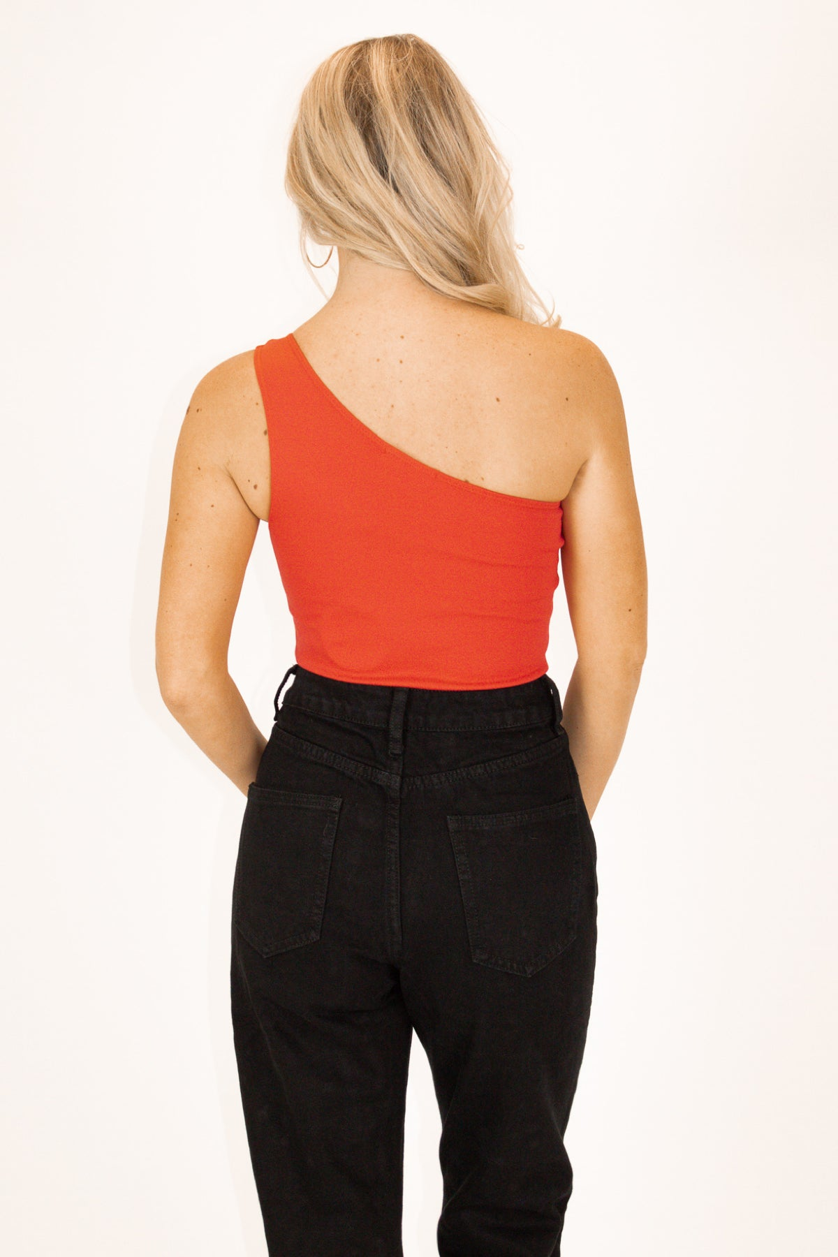One Shoulder High-Quality Bodysuit in Hot Red