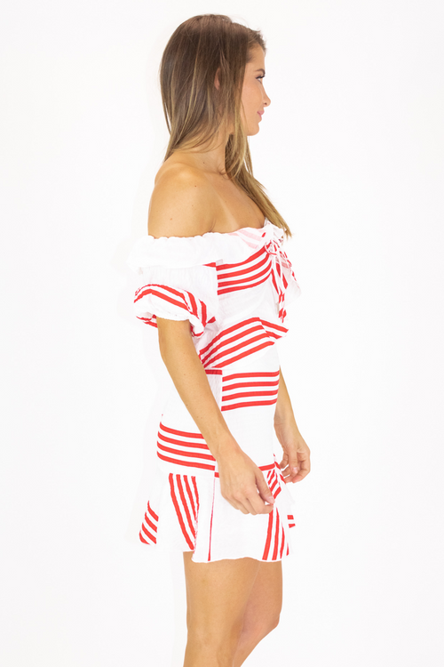 CHERRY STRIPE RUFFLE MINI