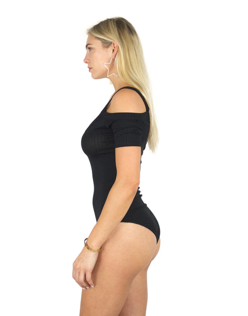SYSTEMS RIBBED BODYSUIT IN BLACK