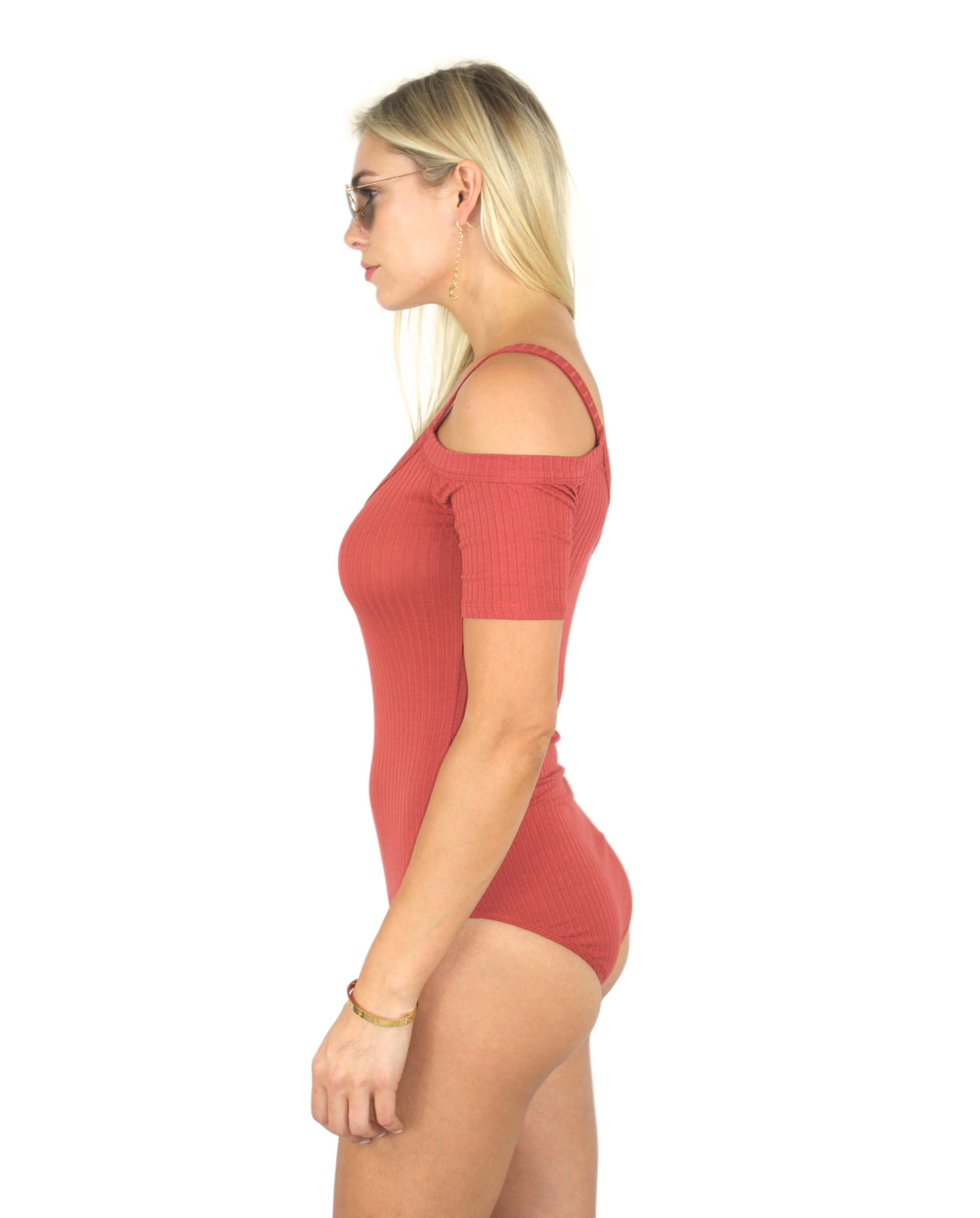 SYSTEMS RIBBED BODYSUIT IN TANGERINE