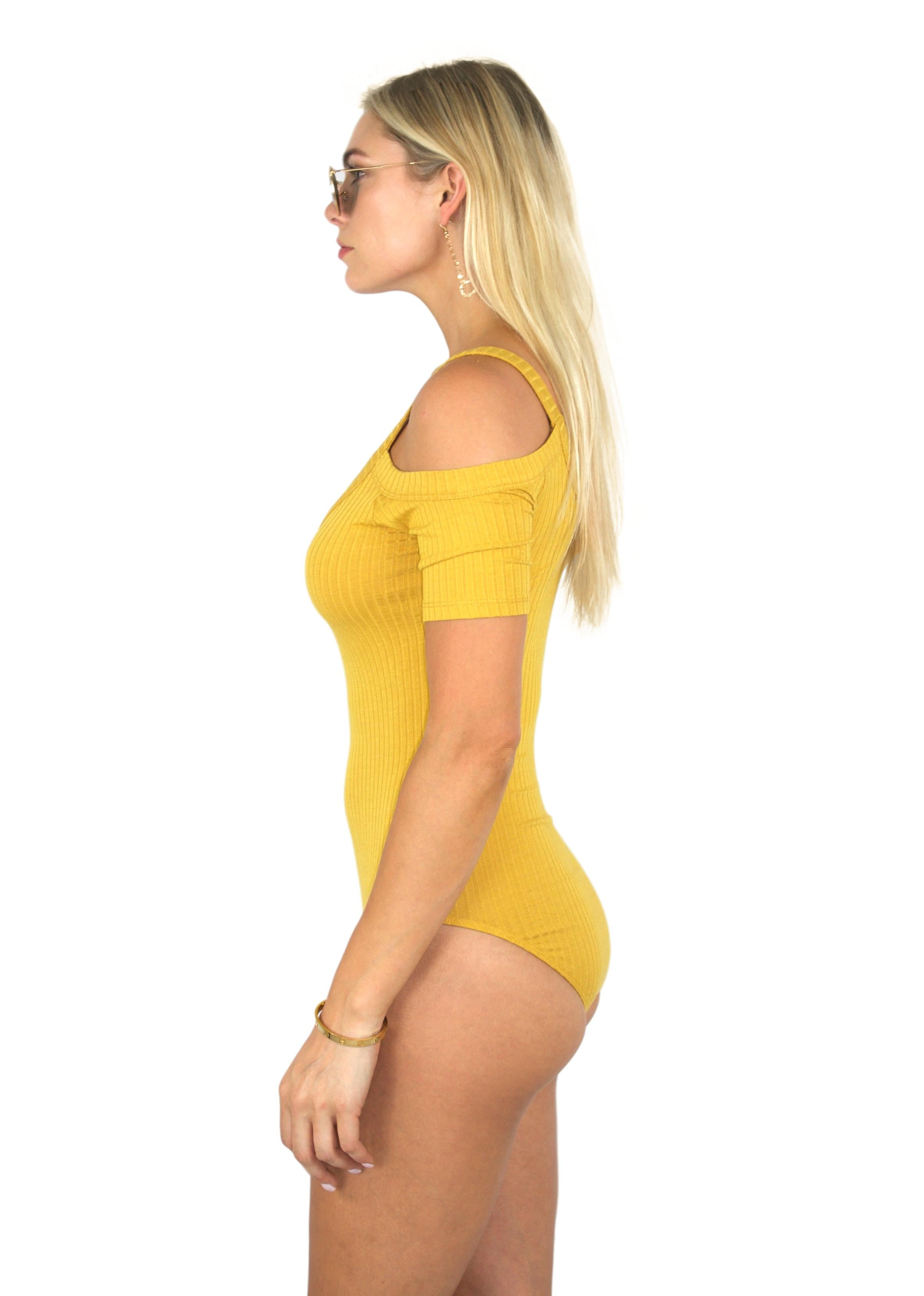 SYSTEMS RIBBED BODYSUIT IN MUSTARD