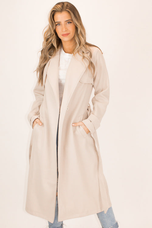BEIGE WOOL BLEND TRENCH COAT