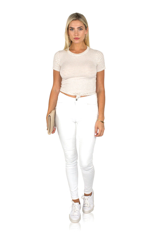 TWISTER CROP IN BEIGE