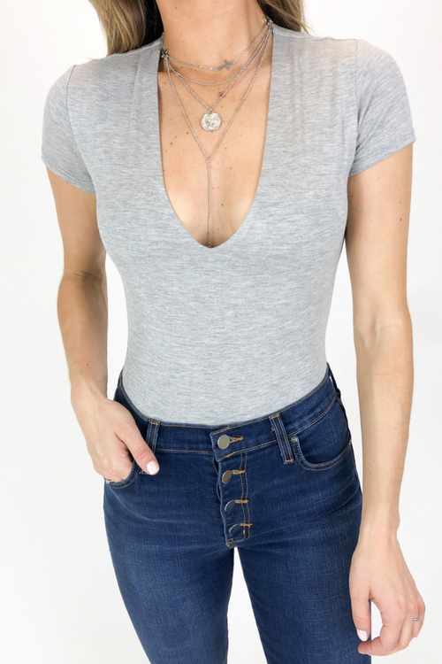 V NECK LINED BODYSUIT IN GREY