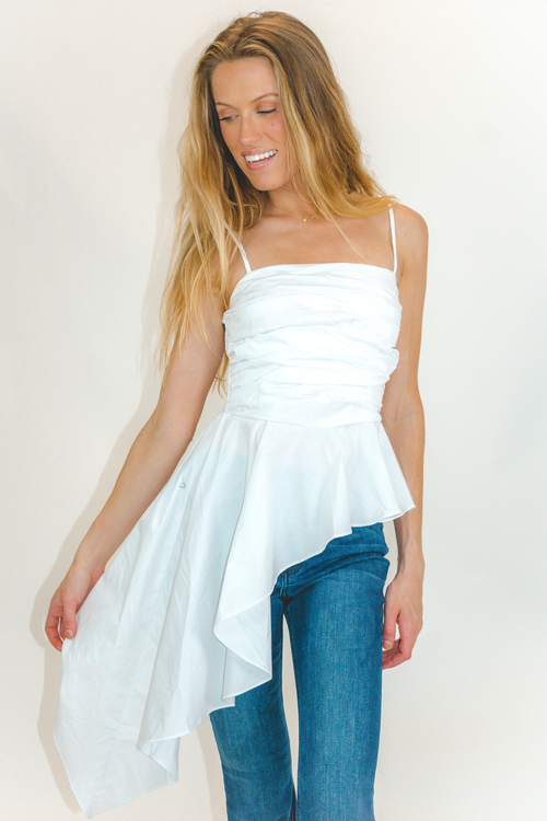 WHITE ASYMMETRICAL HI-LO TOP