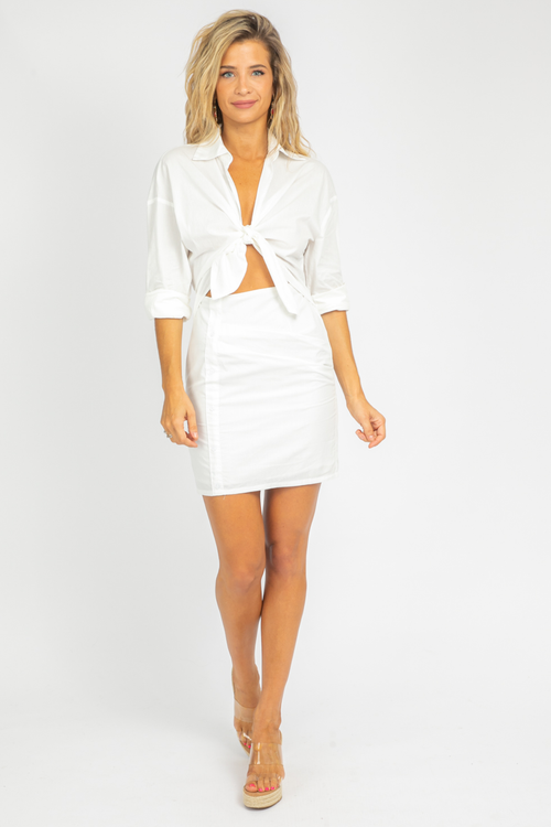 WHITE CUTOUT COLLARED DRESS