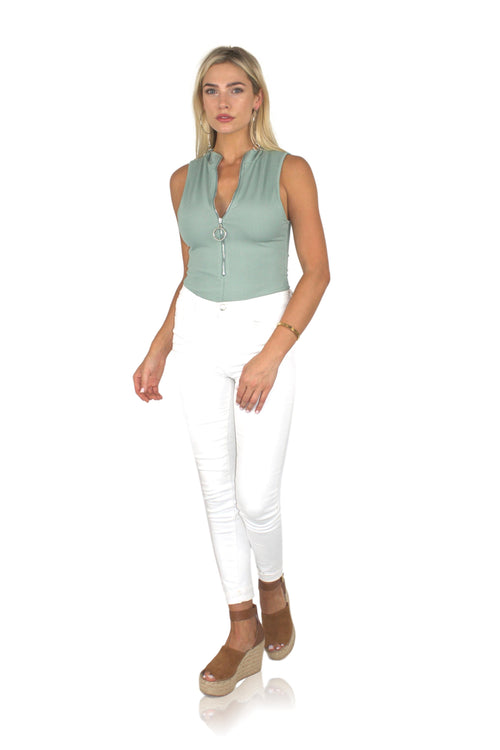 ZIP IT BODYSUIT IN SAGE
