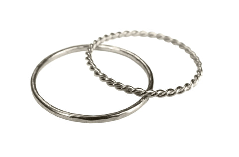 14k White Gold Stacking Rings