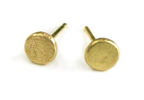 Brass Pebble Stud Earrings