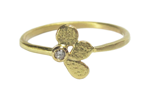 14k Yellow Gold and Diamond Stepping Stone Ring - OOAK