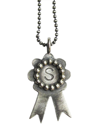 Monogrammed Award Ribbon Necklace - scallop