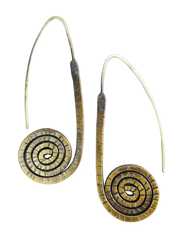 Brass Crop Spiral Earrings