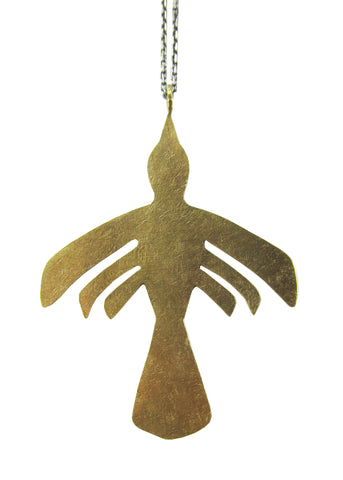 Nazca Bird Necklace - Oxidized Sterling Silver