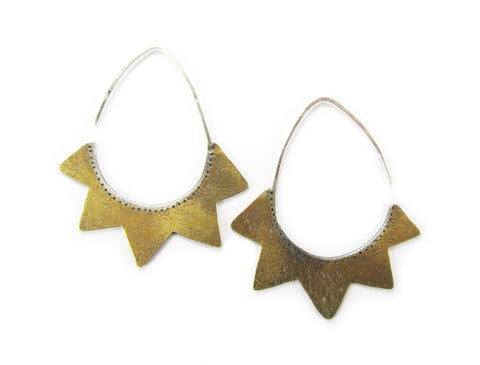 Sunburst Shield Earrings - Brass