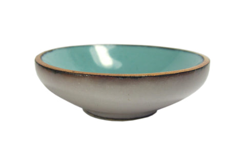 Enameled Petite Pinch Bowl - aqua / white