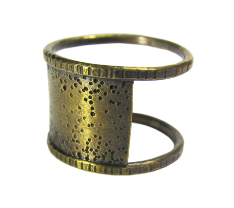 Oxidized Sterling Silver Shen Ring - dots