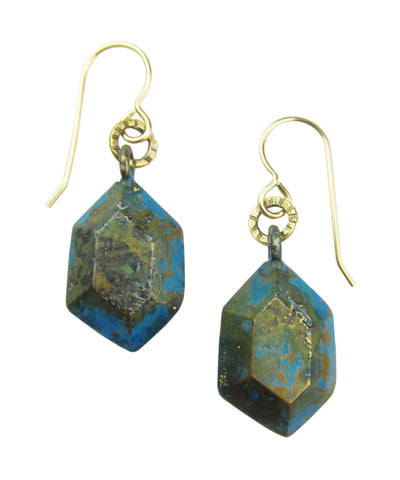 Metal Minerals Blue / Brass Emerald Cut Earrings