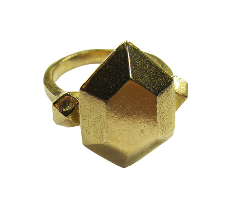 Metal Minerals Brass Emerald Cut Ring