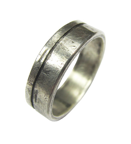 Oxidized Sterling Silver Shen Ring - line
