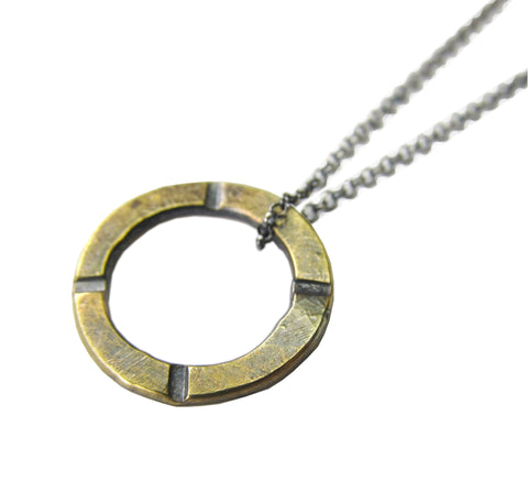 Petite Rustic Circle Necklace