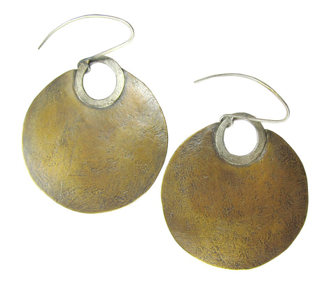 Plain Brass Sun Disk Earrings