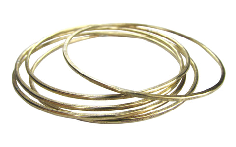 Rustic Thin Brass Bangle Bracelet