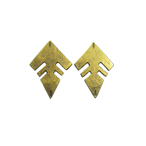 Brass Minimal Line Stud Earrings
