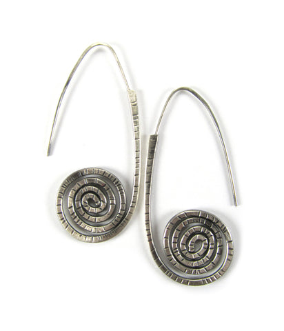 Sunburst Shield Earrings - Oxidized Sterling Silver
