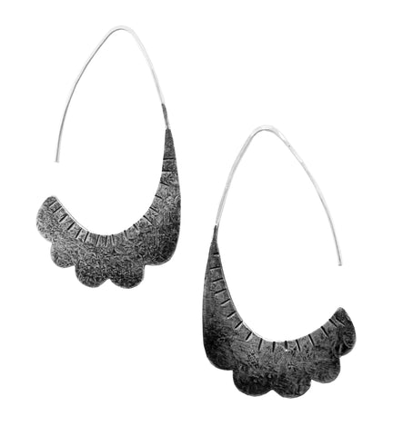 Scalloped Shield Earrings - Oxidized Sterling Silver