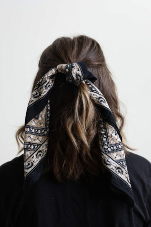 Black & Cream Printed Bandana