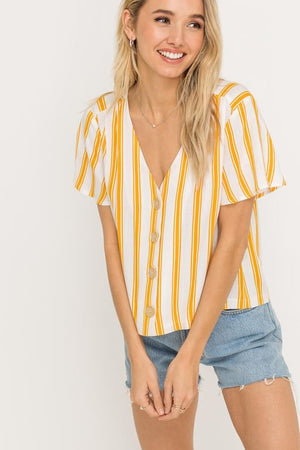 Lana Yellow Striped Blouse