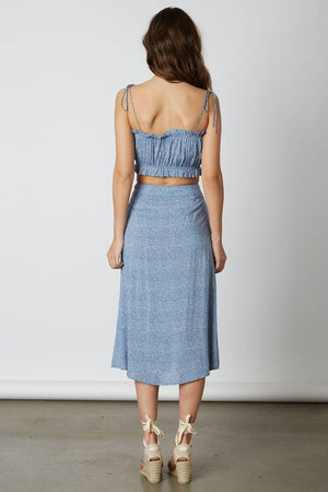 Easy Does It Blue Printed Crop Top