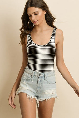 Striped Ribbed Bodysuit