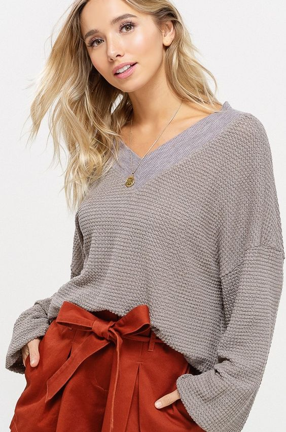Gray V-Neck Thermal Sweater