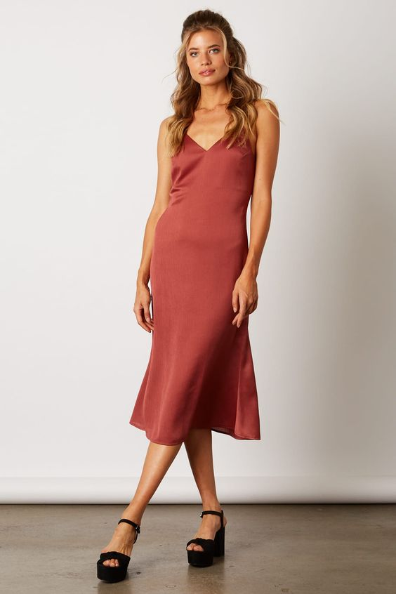 Heading Out Satin Midi Dress in Rust