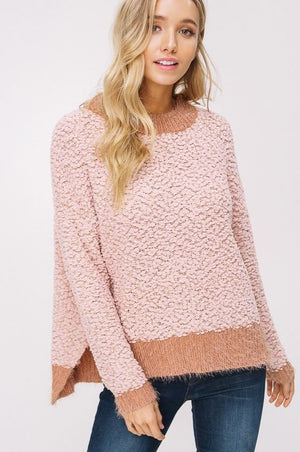 Pink Two Tone Popcorn Sweater