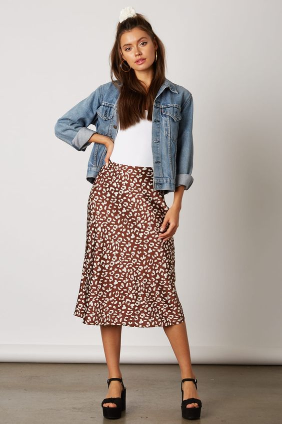 Brown Animal Print Skirt