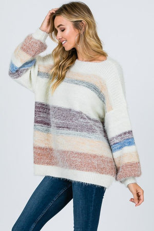 In Your Arms Striped Pullover Sweater
