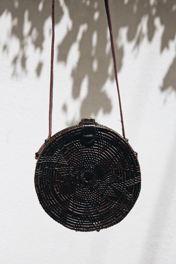 Dark Brown Round Bali Market Bag by Pamala V