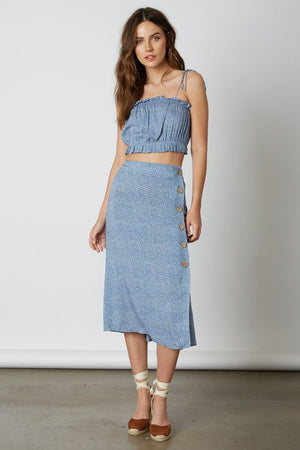 Easy Does It Blue Printed Midi Skirt