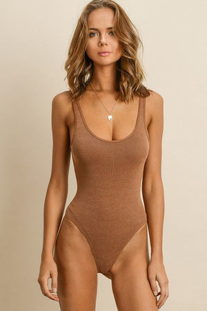 Tan Ana Ribbed Bodysuit