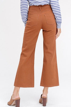 Rust Denim Crop Flare Pants