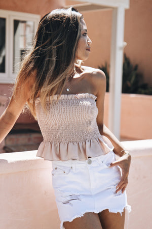 Making me Blush Strapless Top
